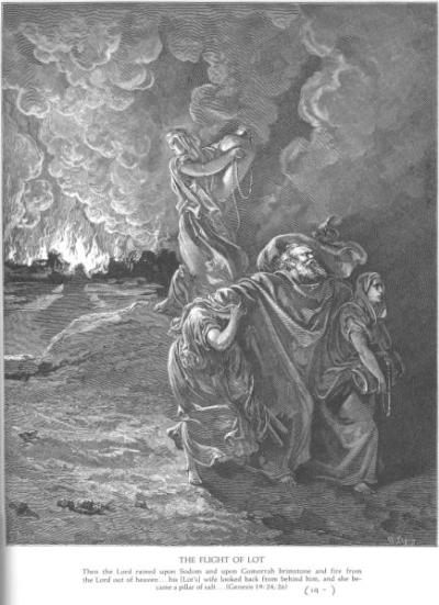 Dore Lot Flees as Sodom and Gomorrah Burn