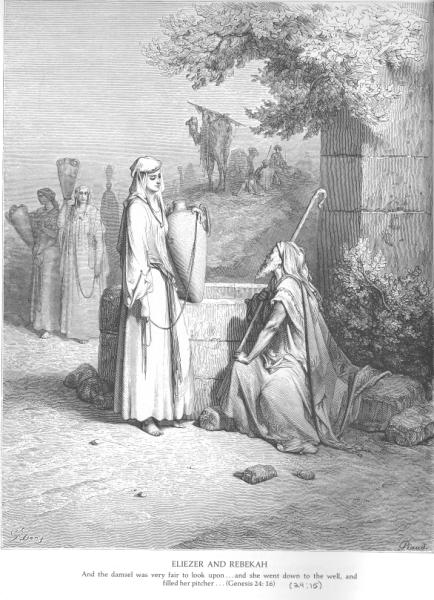 Eliezer and Rebekah at the Well by Gustave Doré