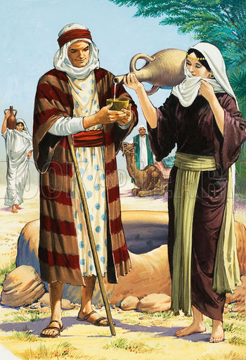 http://www.lookandlearn.com/blog/3176/abrahams-servant-finds-rebekah-at-the-well/