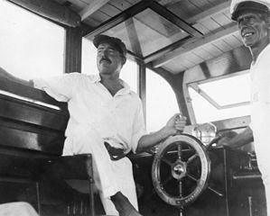 Ernest Hemingway and Carlos Gutierrez aboard Pilar 1934