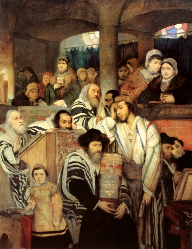 Maurycy Gottlieb Jews Praying in the Synagogue on Yom Kippur