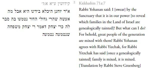 Kiddushin 71 assimilation geneology mixed Jews