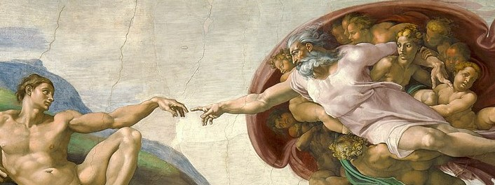 Creation of Adam (by God) Michelangelo Sistine Chapel Wikimedia