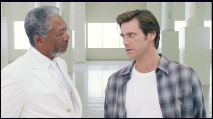 Bruce Almighty with Jim Carrey and Morgan Freeman God