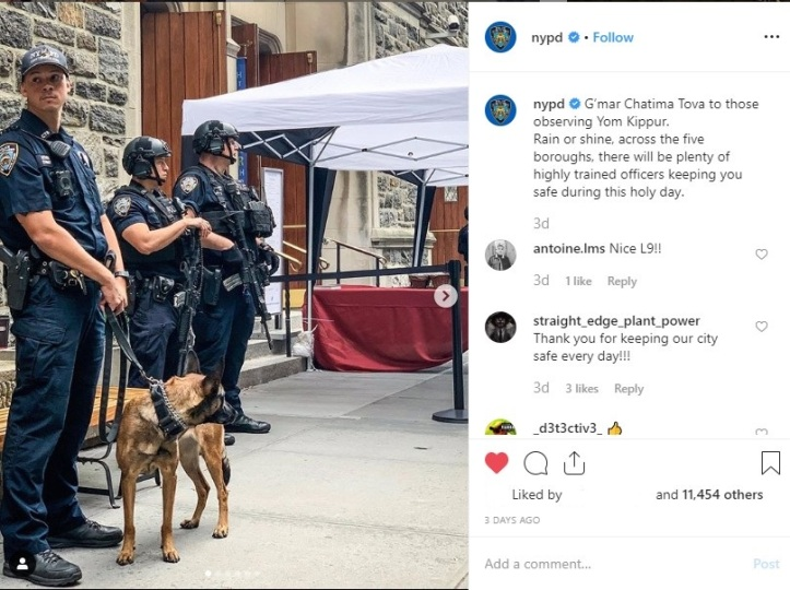 NYPD Jewish Privilege in NYC High Holy Days Police dog