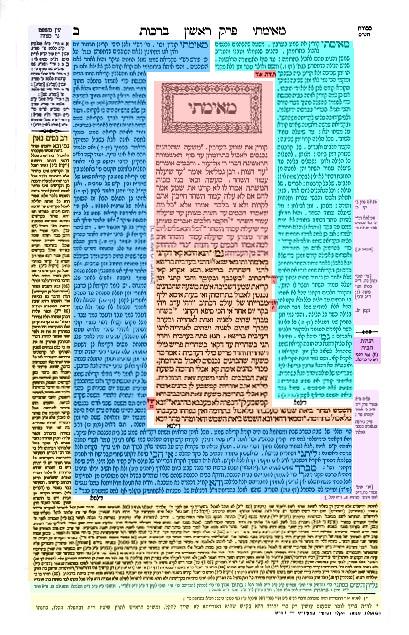 Color coded Talmud page Hebrew Aramaic