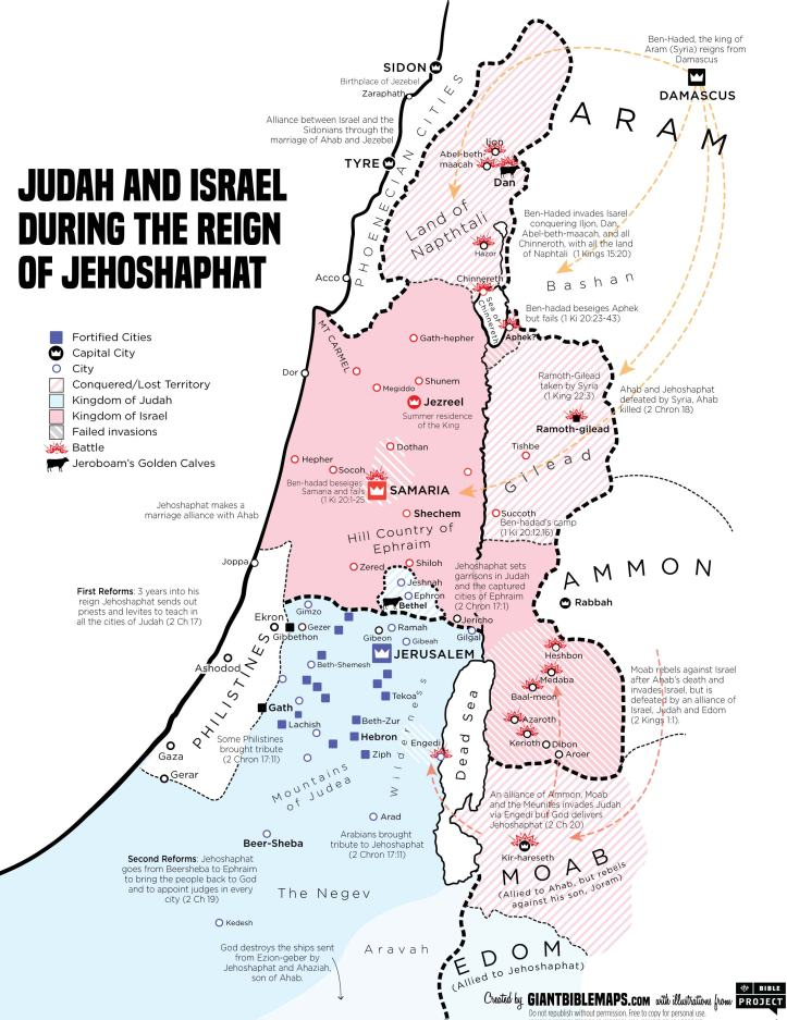 Kings Chronicles Map of Israel and Judah during the Reign of Jehoshaphat