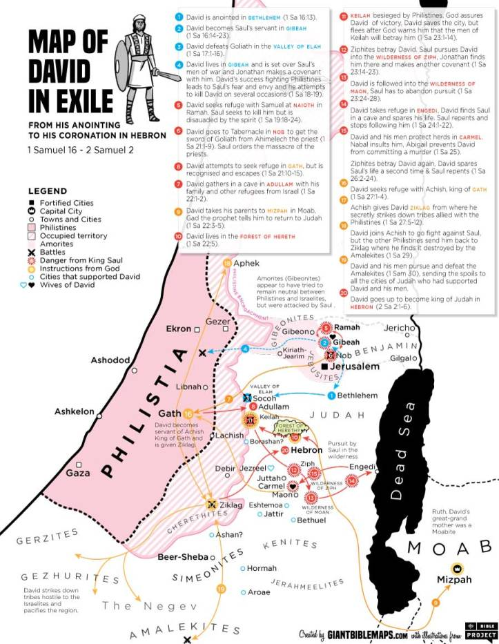 Samuel (Book) Philistia Map of David in Exile